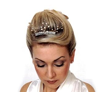Tiara - style - Audrey - Diamanté gold & pearl spray.