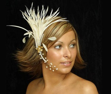 Headpiece - style Elaine II - Ivory feathers diamanté & gold hand painted roses.
