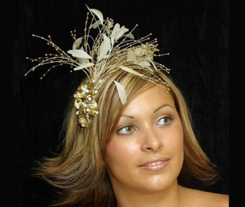 Headpiece - style Deral - Gold roses with amber beads diamanté & pearl spray with ivory feathers.
