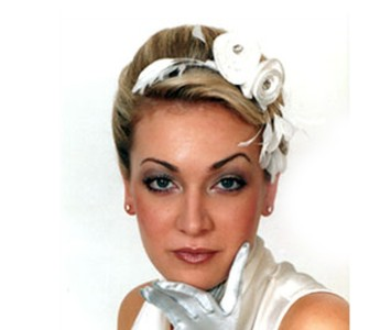 Headpiece - style - Lily - Cream white silk roses with large antique diamanté & winter white feathers.