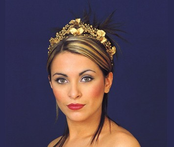 Headpiece - style - Zoe - Gothic gold roses wired into small gold beads, dusted in gold sparkle.